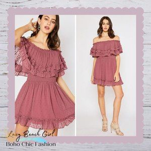 Ruffle Hem Off Shoulder Dress
